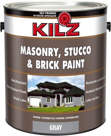 Gray - Kilz Interior/Exterior Self-Priming Masonry, Stucco, and Brick Flat Paint