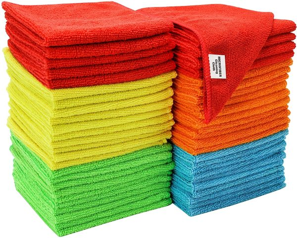 S&T Inc. Reusable and Lint-Free Multi-Color Microfiber Towels For Home