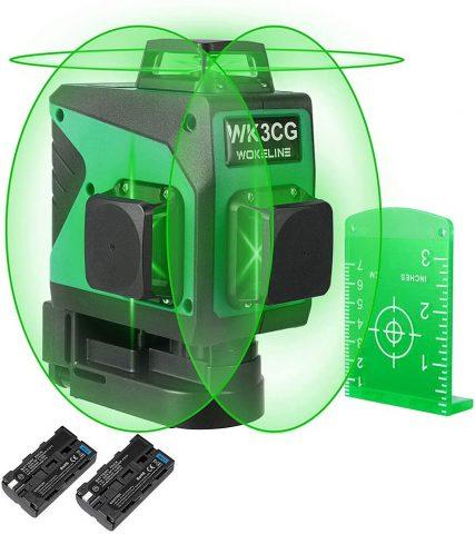Wokeline 3x360° Laser Level Rechargeable Self Leveling Three Plane Cross Line Lasers 2x360° Vertical 1x360° Horizontal 12 Lines +Flexible Magnetic